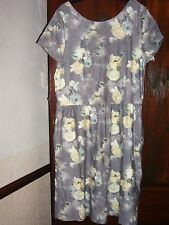 Grey Floral Cotton Dress by Next Size 16 Tall