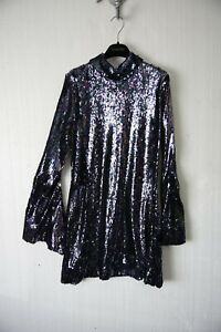 Brand new HALPERN black sequin Size 12 dress long sleeve FARFETCH RRP £600