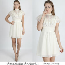 Vintage 70s Boho Wedding Dress Sheer Ivory Floral Lace Drape Hippie Prairie Mini
