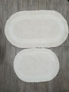 Cotton 2 piece 36 x 22, and 25 x 19 Inch Oval Reversible Bath Rug, ivory white