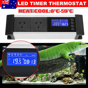Day&Night Cool Heat Timer Reptile Thermostat Aquarium Temp Controller AU STOCK
