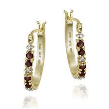 Gold over 925 Silver .40ct Garnet & Diamond Accent Hoop Earrings