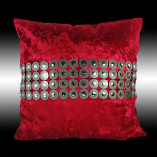 SHINY CIRCLES SILVER RED THICK VELVET DECO THROW PILLOW CASE CUSHION COVER 17""