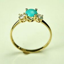 Elegant 14k solid yellow gold 5mm cabochon natural Arizona Turquoise ring size 7