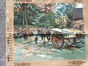 Penelope Farmyard Horse & Cart Vintage Tapestry Large Canvas Only New 45 x 56
