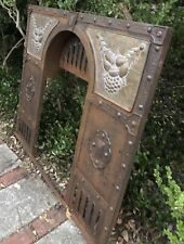 Antique English Hammered iron Fireplace Cover W/ brass/copper Panels Early 1900