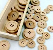 50 Pcs Vintage Wooden Buttons Round 4-Holes Sewing Scrapbooking DIY 15mm,20mm
