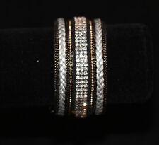 Aligned Bracelet Magnetic Closure (Rhodium) Metallic Accent Row Rhinestone Pave