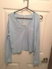Victoria's Secret PINK Cold Shoulder Long Sleeve Campus Tee  SIZE LARGE NWT