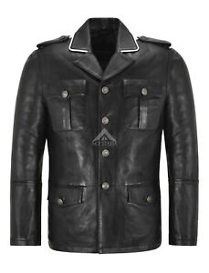 Men's Leather Coat German Classic WW2 Studded Hip Length Coats Real Leather 4851