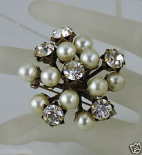 ANTIQUE SILVER TONE GOLD BRUSH WHITE RHINESTONE FAUX PEARL CLUSTER BROOCH/PIN