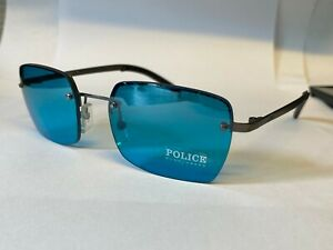 Police Sunglasses Model S2680 Color 627X Blue Metal Grey Frame