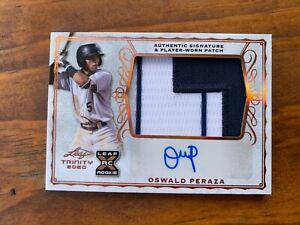 Oswald Peraza 2020 Leaf Trinity Nameplate Rookie Auto Patch RC PRA Yankees HOT