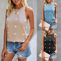 Women Polka Dot Vest Tank Tops Summer Sleeveless Loose Casual Tee Shirt Blouse