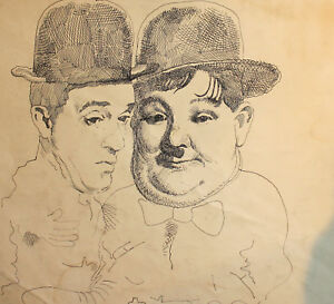 ANTIQUE INK PAINTING LAUREL AND HARDY CARICATURE PORTRAIT