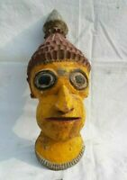 Vintage Antique Old African Tribal Hand Crafted Painted Wooden Mask Home Decor