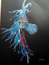 Siamese Fighting Fish Blue & Red Crowntail Acrylic Painting Framed Original