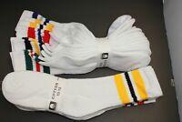 5Pair's Men's/Women's 10-13 Long Crew Socks,Cotton Athletic Socks White red BK