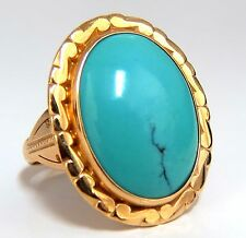 10ct Natural Turquoise Ring Prime Robin's Egg 18kt. Vintage