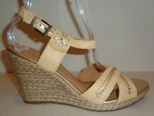 Jack Rogers Size 9.5 M Abbey Natural Raffia Gold Wedge Sandals Womens Shoes