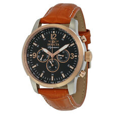 Invicta Signature II Multi-Function Black Dial Rose Gold-tone Brown Leather Mens