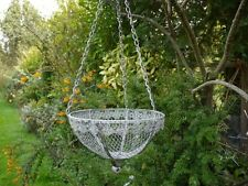 Unusual Metal Hanging Basket Grey Distressed Shabby Chic FREE POSTAGE