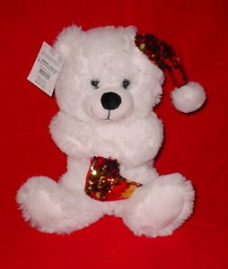 HOLIDAY TIME WHITE CHRISTMAS BEAR * WITH SEQUIN HAT * 12 INCH * NEW *