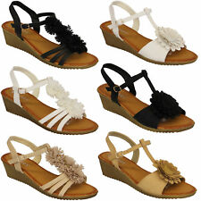 Ladies Sling Back Wedge Sandals Womens Girls Open Toe Flower Shoes Party Fashion