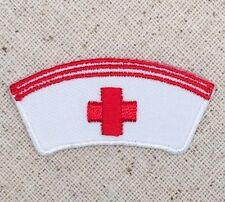 Iron On Embroidered Applique Patch Red White Medical Nurse Cap Hat Red Cross