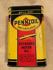 Super neat Pennzoil Outboard Motor Oil. Stellar Graphics. 1 quart metal.
