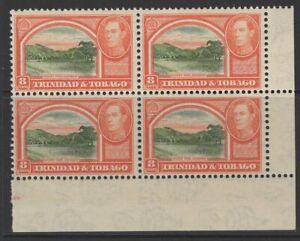 TRINIDAD & TOBAGO SG251 1938 8c SAGE-GREEN & VERMILION BLOCK OF 4 MNH