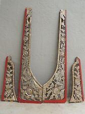 275-4. Antique Carved Silver Gilt Wood Frame 4pcs/set w/ Phoenix and Flower