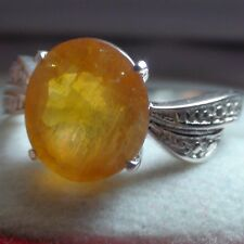 5.80 ct WONDERFUL! NATURAL  YELLOW SAPPHIRE RING 925 STERLING SILVER,SIZE 6.75