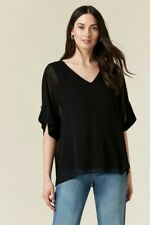 Wallis Womens Black Tab Sleeve Overlay V-Neck Top Tunic 3/4 Sleeve Relaxed