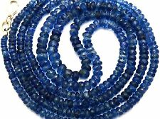 """NATURAL GEM KYANITE 3-6MM FACETED RONDELLE BEADS 85CTS. FINISHED NECKLACE 16.5"""""""