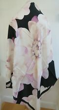 Ted Baker Floral 100% Silk Large SQUARE Scarf With Big Flower Pattern - Pretty!