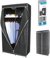 Fabric Canvas Wardrobe w/Hanging Rail Clothes Shelves Storage Cupboard Organizer