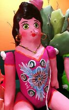 Authentic Mexican Paper Mache Lupita Doll Pink Dress Handmade Folk Art