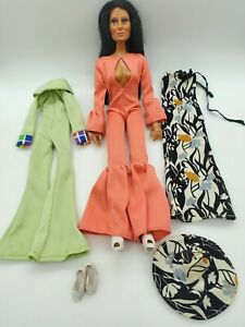 "Vintage 1975 Mego Cher Doll 12"" Clothes Lot Mod Gogo Disco Good Earth Dress Hat"