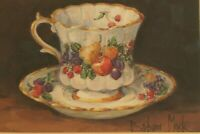 Barbara Mock Fruit Teacup Signed Print Matted Gold Tone Frame 8x10 Antique Cup