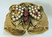 VTG TORTOLANI Gold Plated Butterfly Hinged Heavy Cuff Bracelet Gemstones Pearls