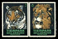 Germany Poster Stamps - Advertising Tierpark Hellabrunn - Pair - Tiger + Lion