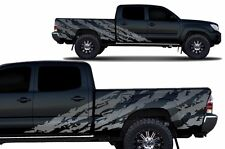 Custom Vinyl Decal SHRED Wrap for 4D Long Bed Toyota Tacoma TRD 2005-2015 Silver