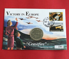 TURKS & CAICOS 1995 V.E. DAY PROOFLIKE 5 CROWN - coin cover