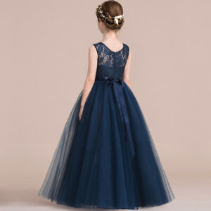 Flower Girl Princess Lace Bridesmaid Wedding Dress Gown Children Long Dresses