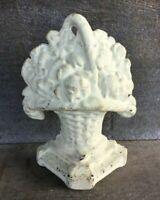 * Antique Cast Iron Flower Basket Door Stop Book End
