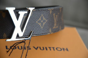 Genuine Louis Vuitton Monogram Brown Belt Silver LV Buckle sz 90 / 36 fits 28-30