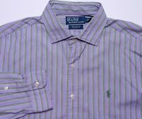 Polo Ralph Lauren Long Sleeve Shirt Westerton Purple Green Striped Large L
