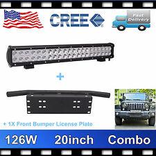 """23"""" Bull Bar Front Bumper License Plate Frame Mount Bracket+20'' 126W LED LIGHT"""