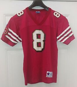 CHAMPION NFL 49ERS YOUNG #8 RED  NYLON SHORT SLEEVE YOUGHT JERSEY SIZE M10-12